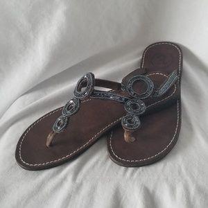 ASPIGA Leather Flip Flop Sandal Beaded